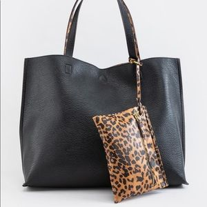 NWT Francesca's Emberly Leopard Reversible Tote